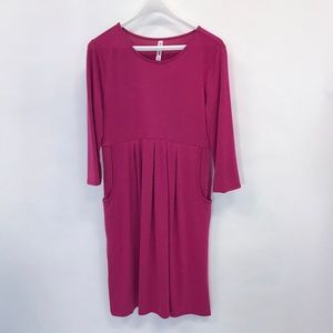 Women's 3/4 Sleeve Pleated Dress with Pockets